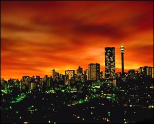 Johannesburg at night.