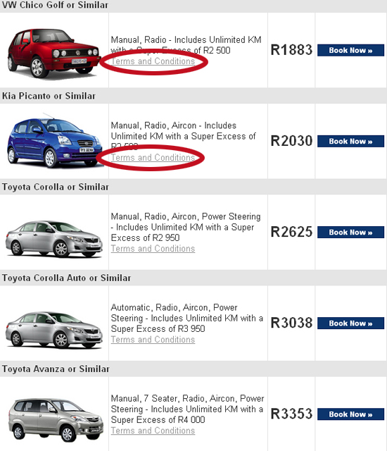 Terms And Conditions Of Comfort Car Hire In South Africa